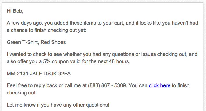 plain text magemail abandoned cart email