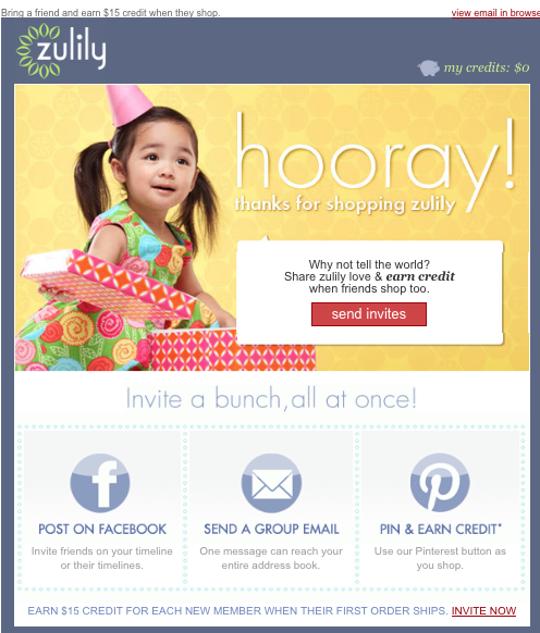 Zulily Thank You Email