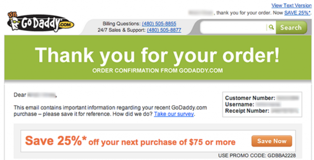 Thank you for your order email by goDaddy