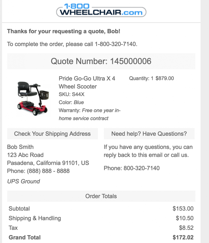 Thank you for your purchase email by 1800 WheelChair