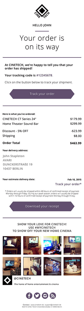 Order Confirmation Emails - CineTech