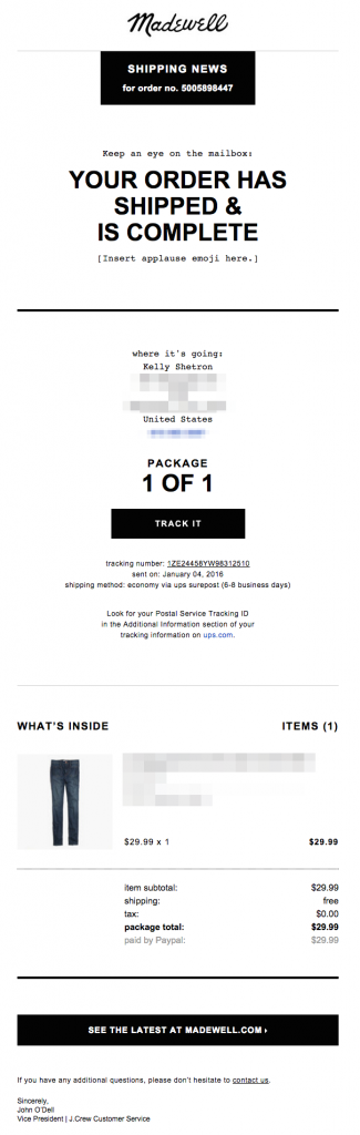 Order Confirmation Emails - Madewell desktop