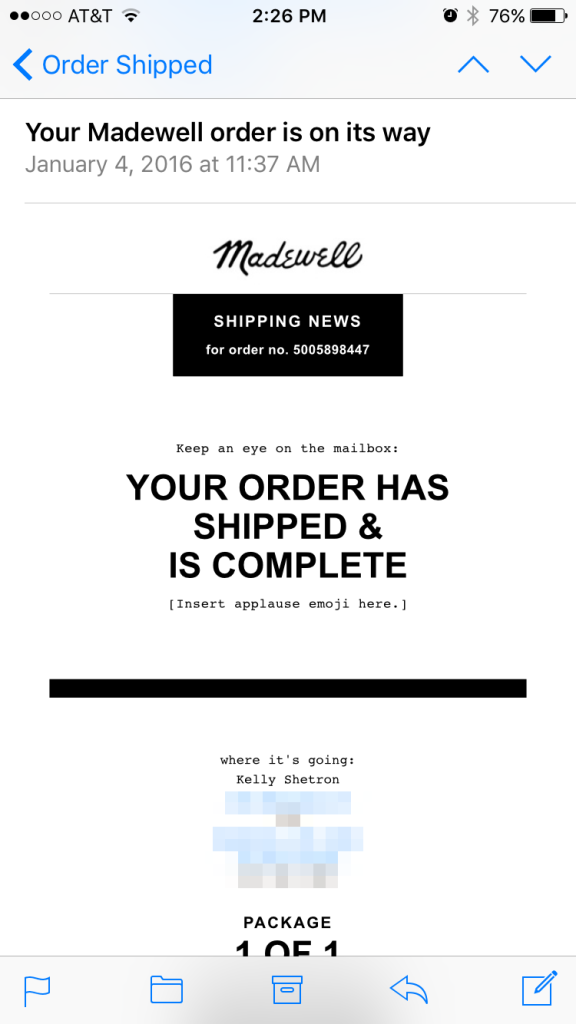 Order Confirmation Emails - Madewell mobile