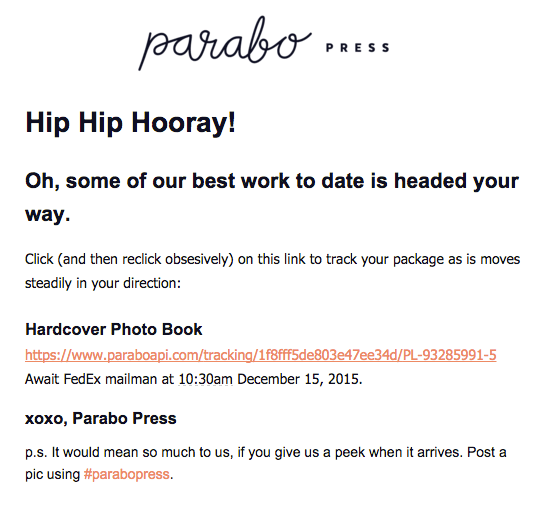 Order Confirmation Emails - Parabo Press
