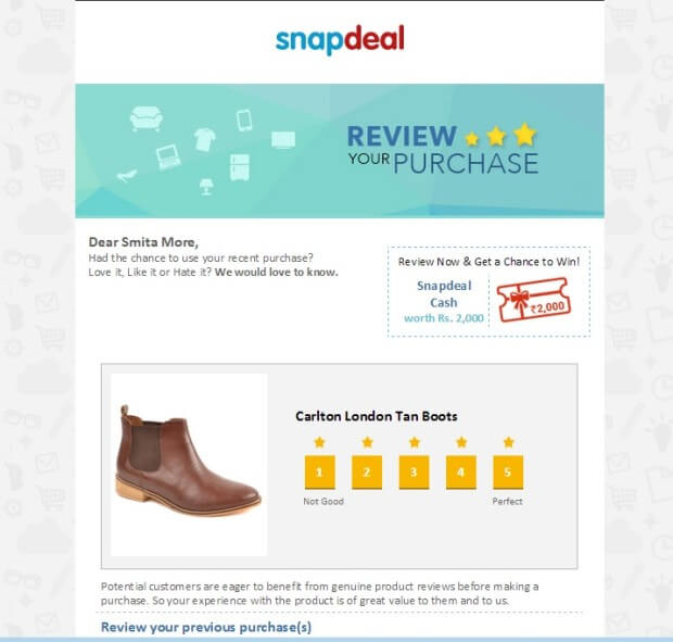 Order Confirmation Emails - Snapdeal