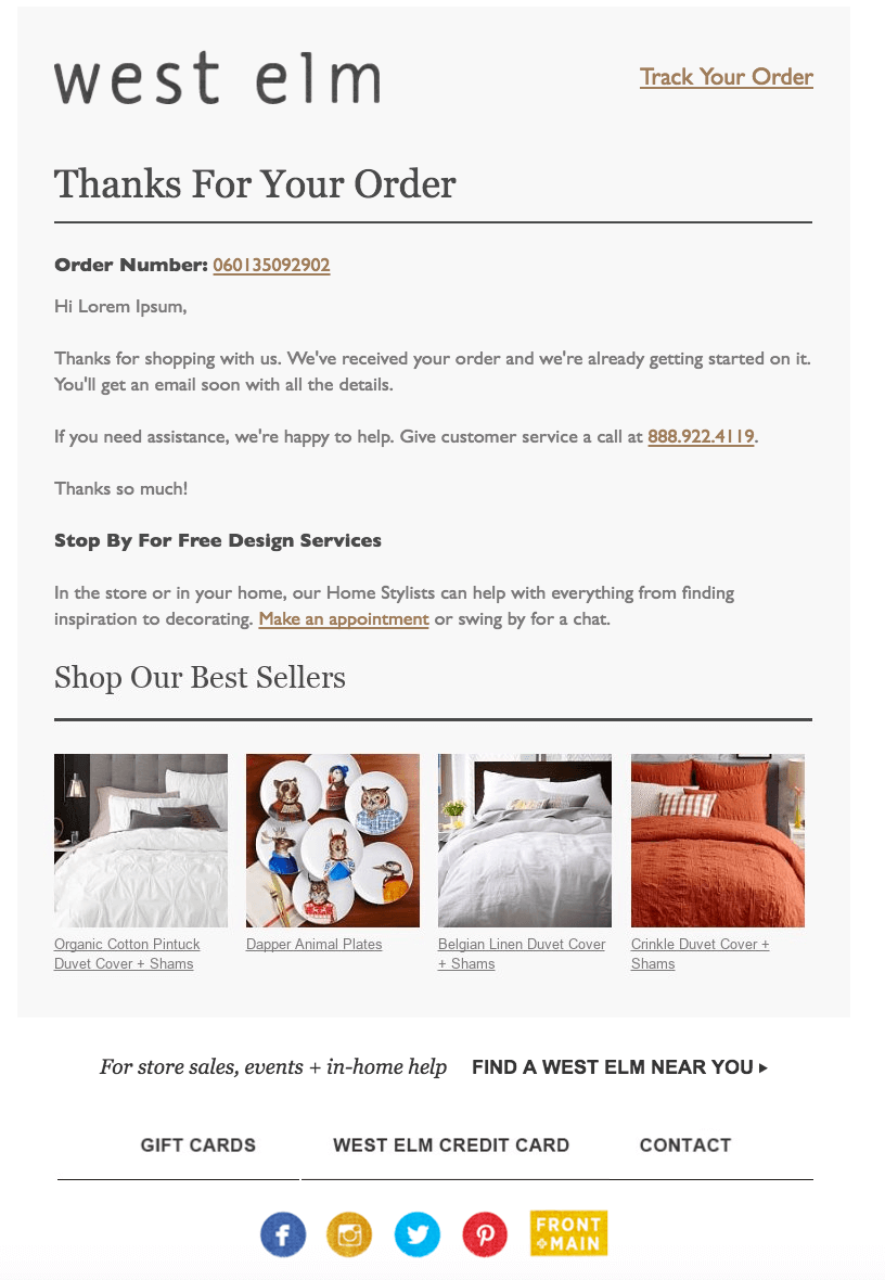 Order Confirmation Emails - West elm