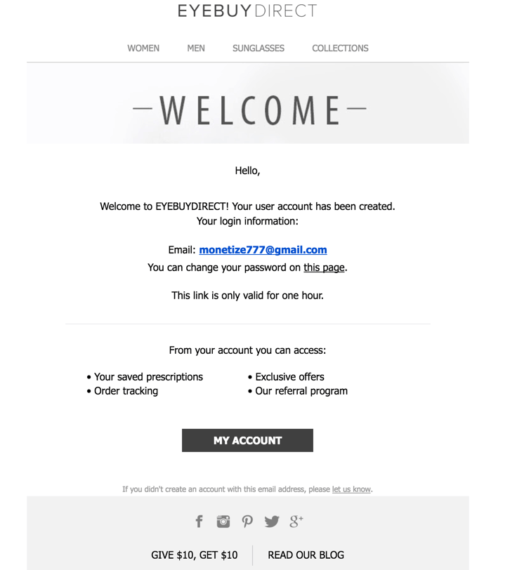 Welcome email by Eyebuy Direct