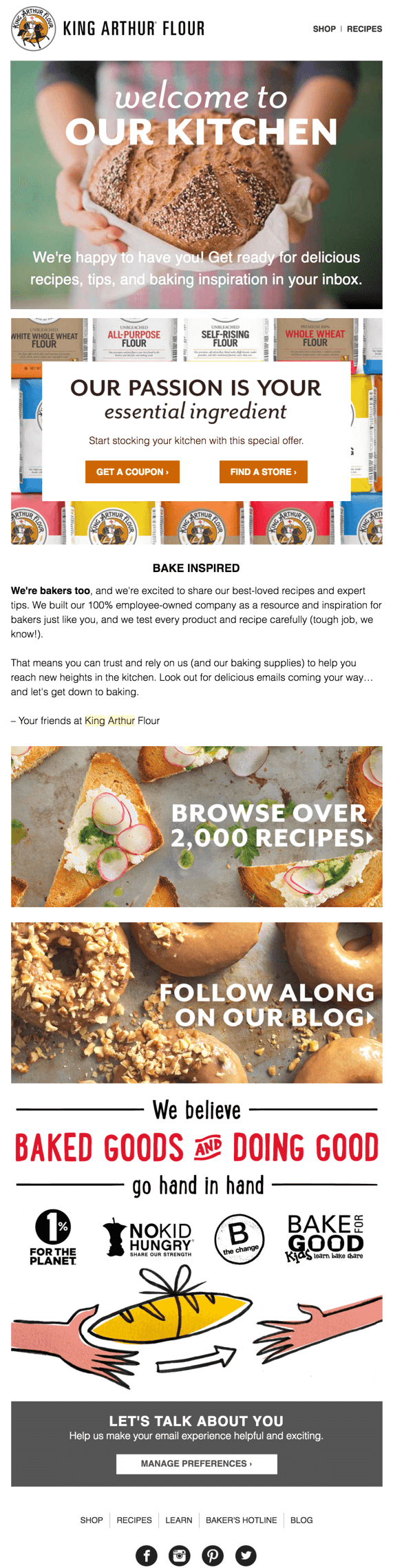Welcome email by King Arthur Flour