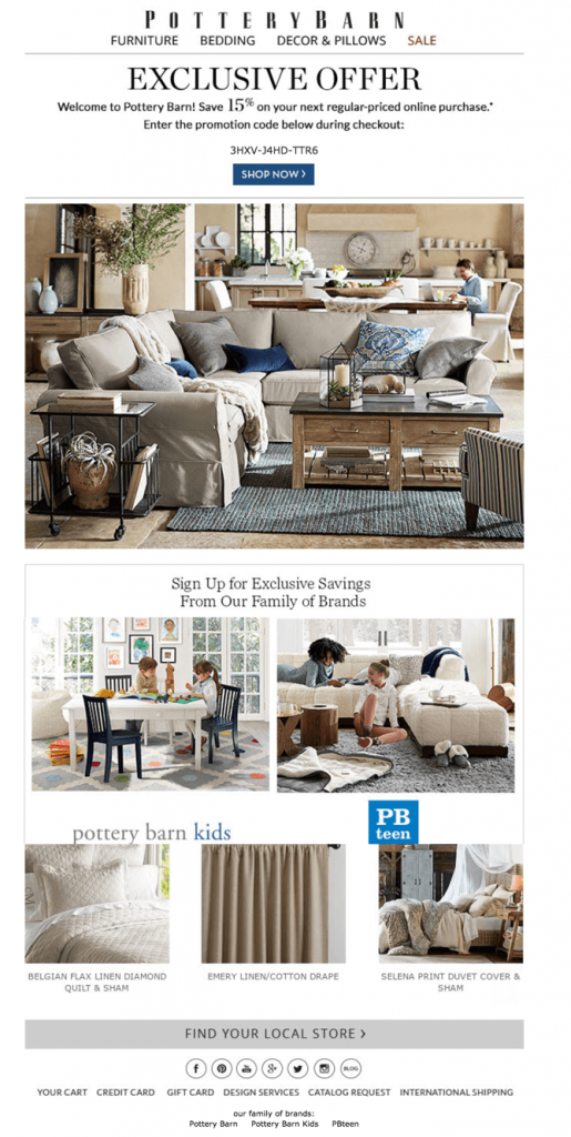Welcome email by Pottery Barn