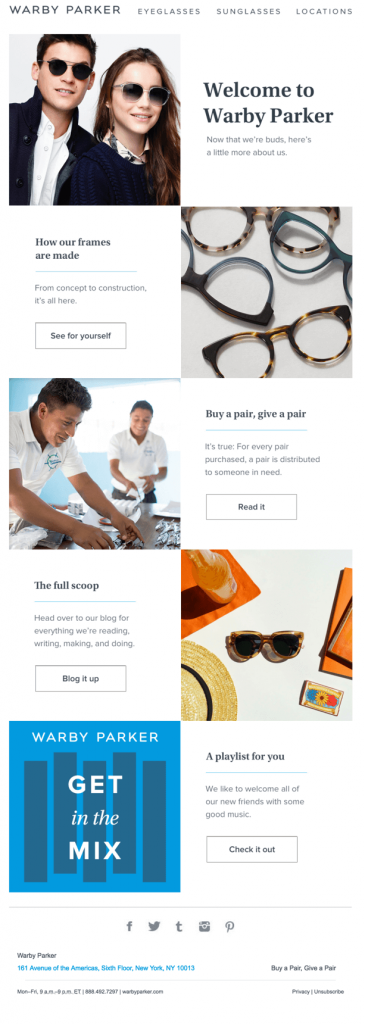 Welcome email by Warby Parker