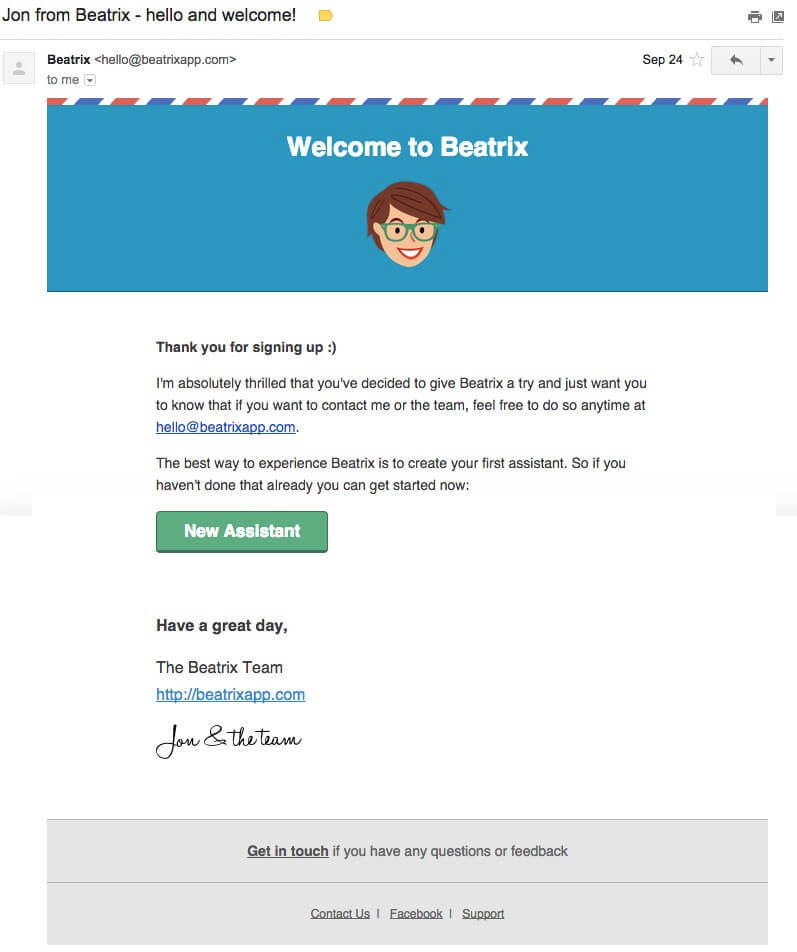 Welcome email by beatrix