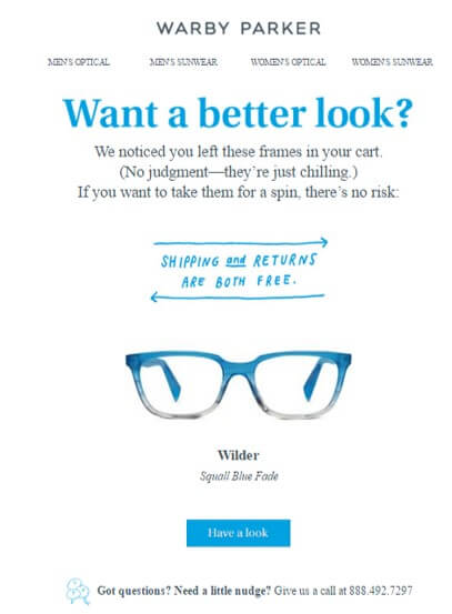 Win-back email campaigns - Warby Parker