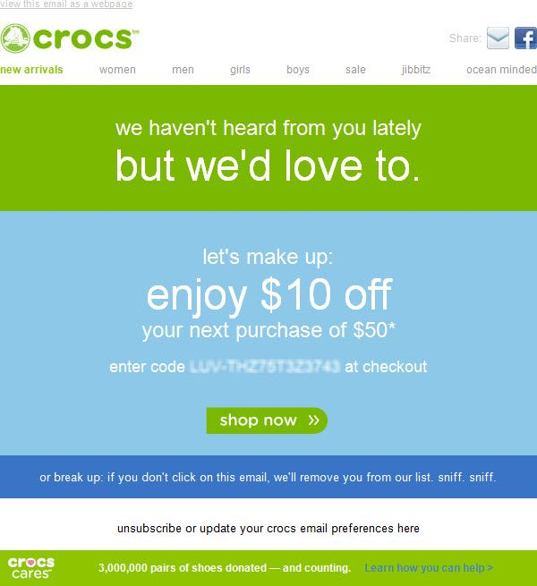 Win-Back Email - crocs