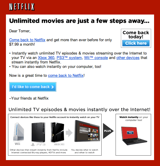 Win-back email campaigns - netflix