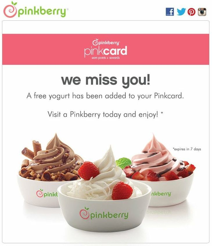 Win-Back email - Pinkberry