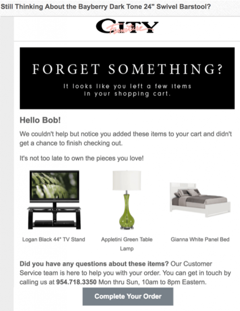 Best performing abandoned cart email - City Furniture