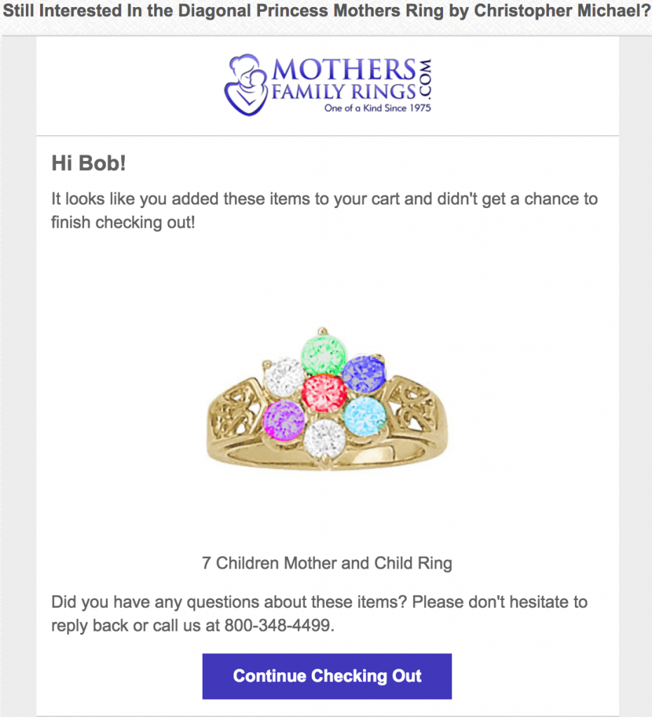Best performing abandoned cart email - Mothers Family Rings