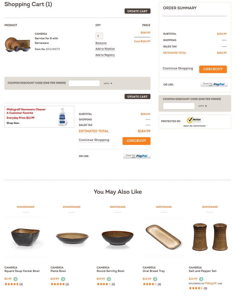 Product Recommendations - Pfaltzgraff