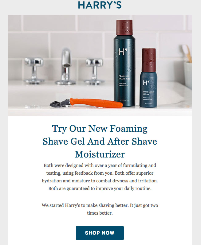email by harrys on new foam shave gel and after shave moisturizer available