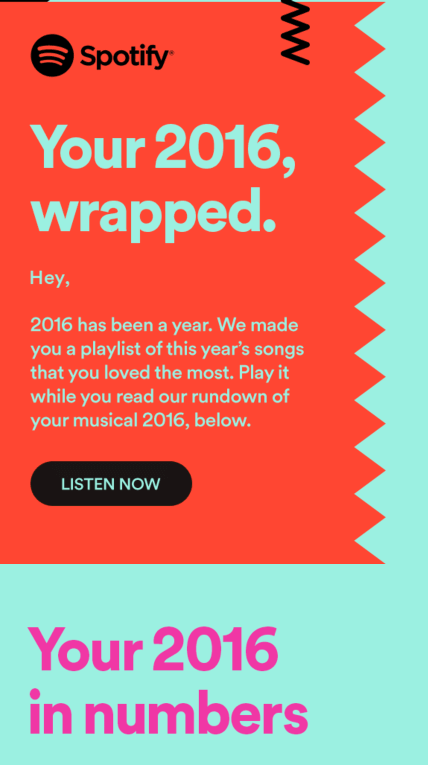 email by spotify on the songs listened in 2016
