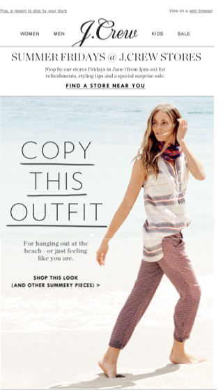newsletter update email by j crew with blonde girl in picture