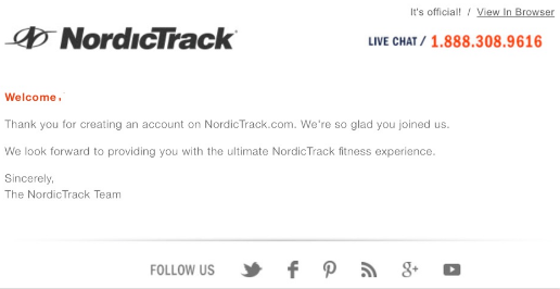 nordictrack welcome email saying thanks for creating an account
