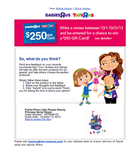 review email by toysrus with chance to win gift card