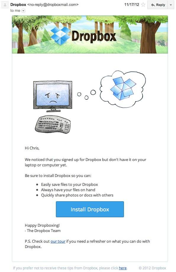 winback email by dropbox
