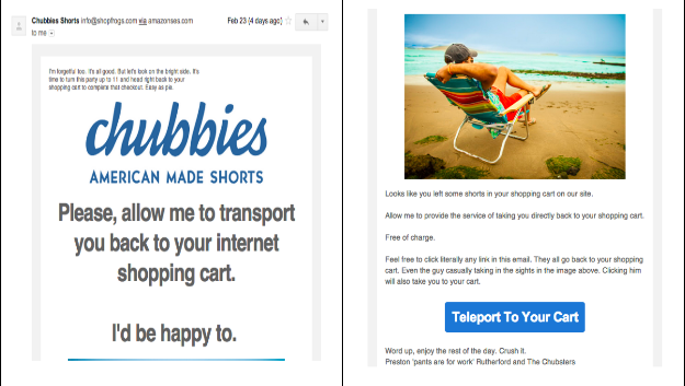 Abandoned cart email by chubbies shorts