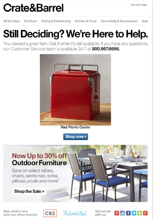 Covert & Overt Personalisation email tactic by crate and barrel