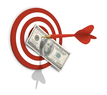 dart bullseye of a hundred dollar bill