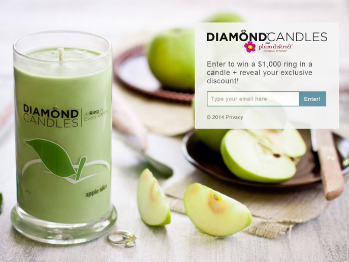 diamond candles optin form with chance to win a prize