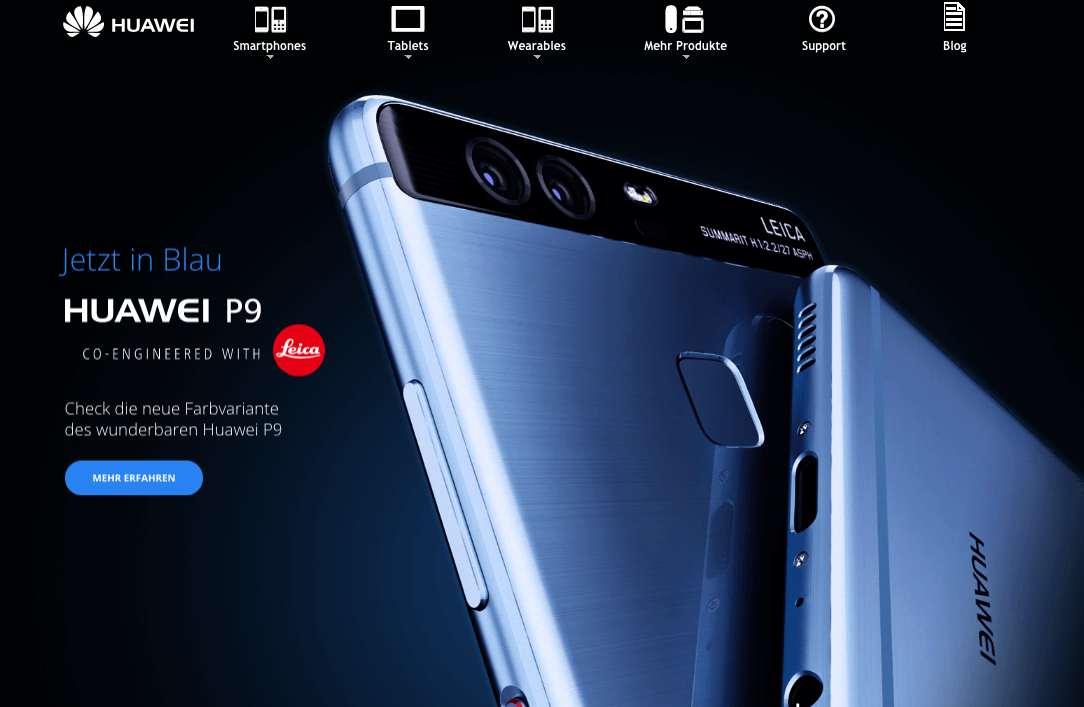 huawei website showing the p9
