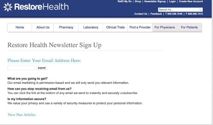 newsletter email optin form on website