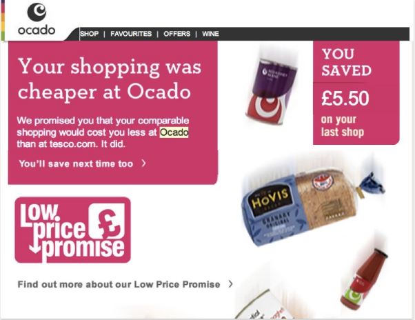 personalized email by ocado