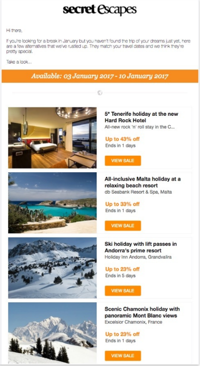 personalized email of holiday resorts by secret escapes