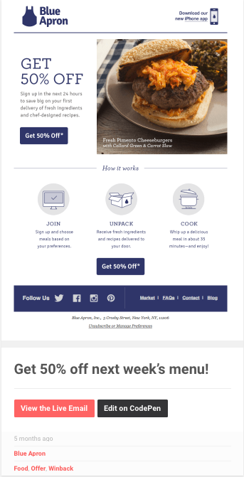 win back email by blue apron