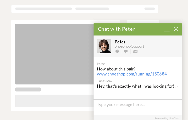customer support pop up making a product suggestion via live chat