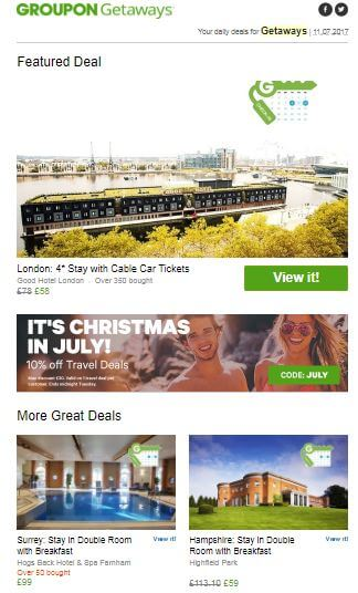 Featured deals newsletter by groupon