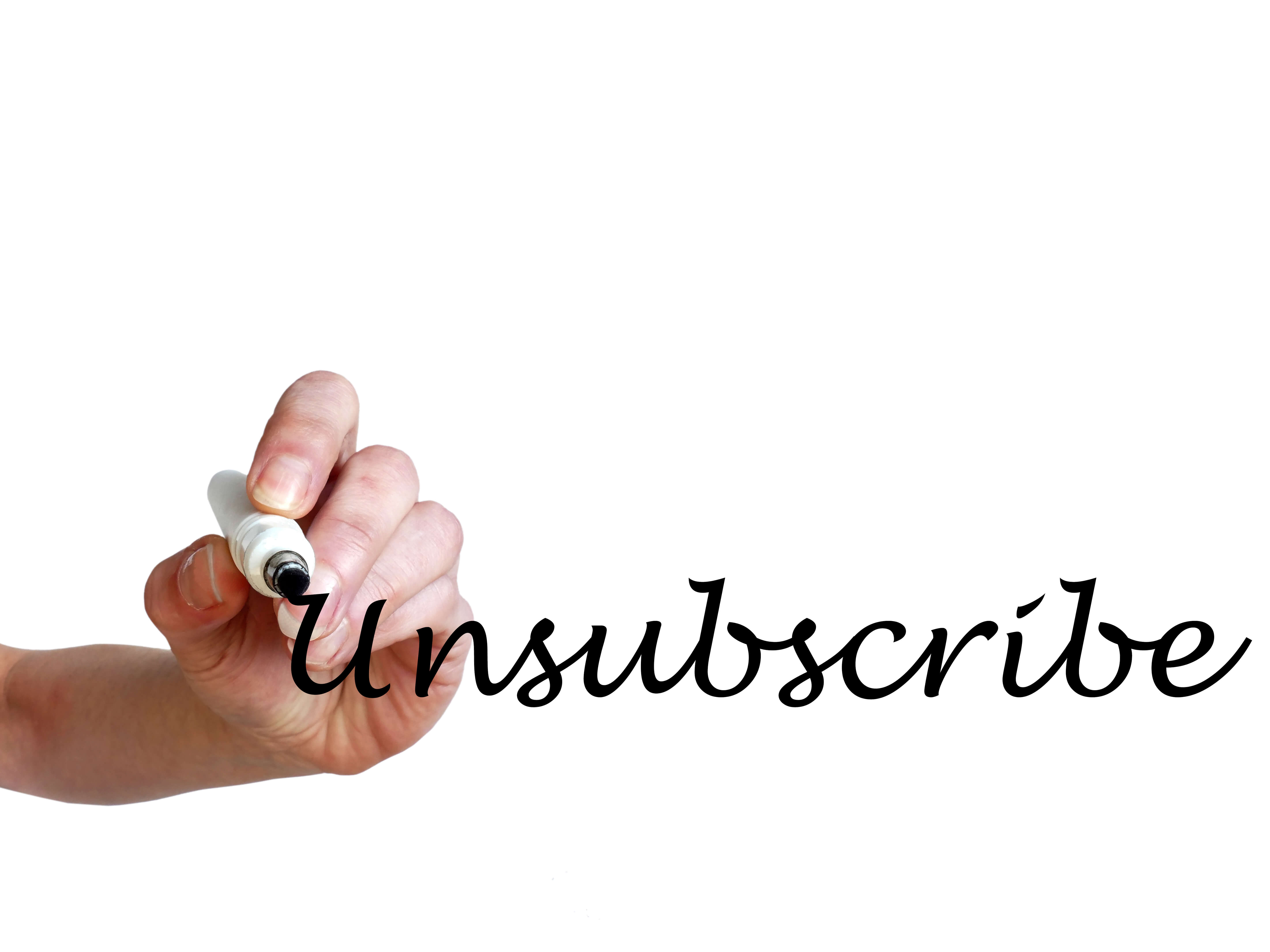 handwriting of the word Unsubscribe