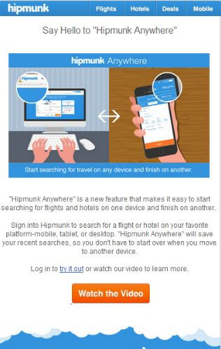 Hipmunk newsletter product update with CTA button at the bottom