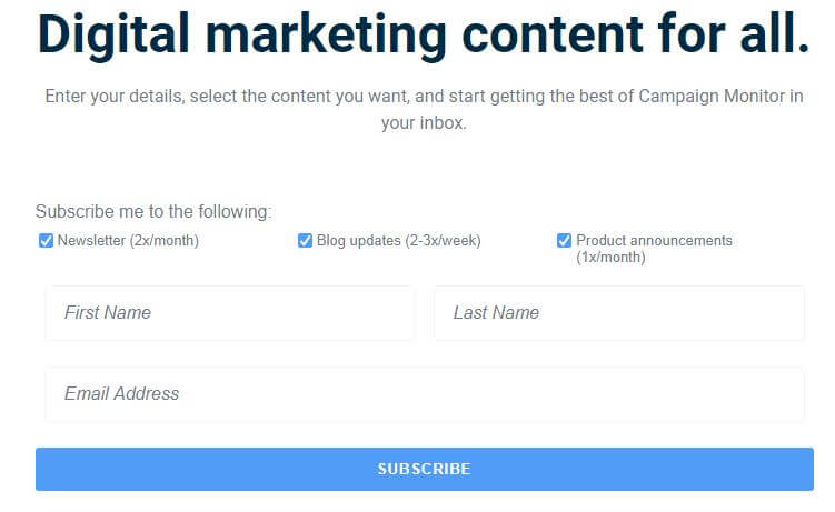 Subscriber signup form for newsletter, blog updates and product recommendations