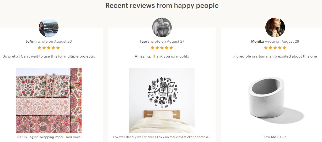 Etsy Product reviews