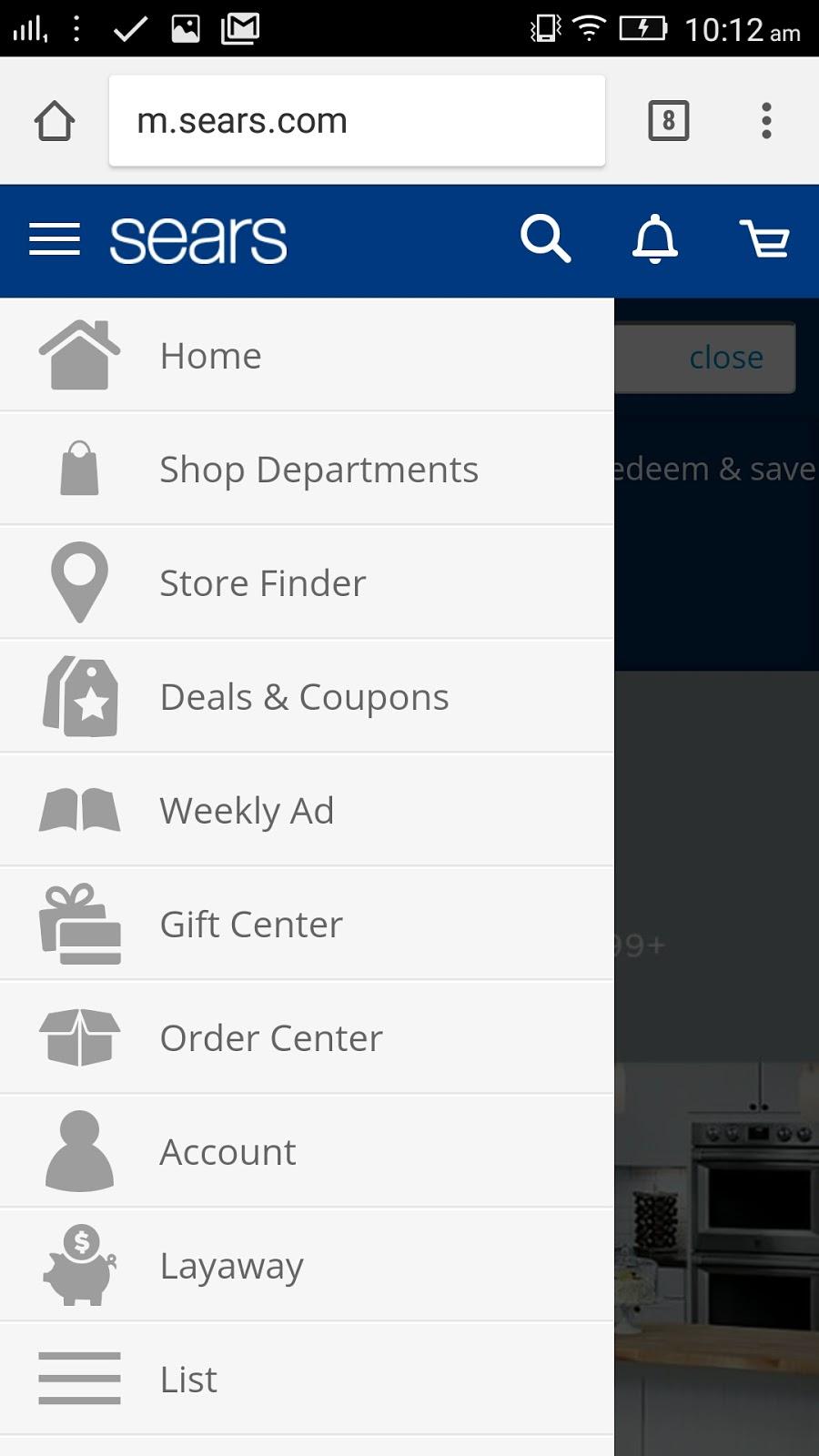 Sears Mobile friendly menu