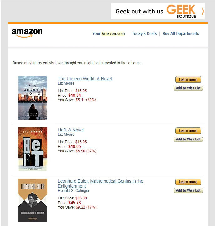 amazon recent purchases email