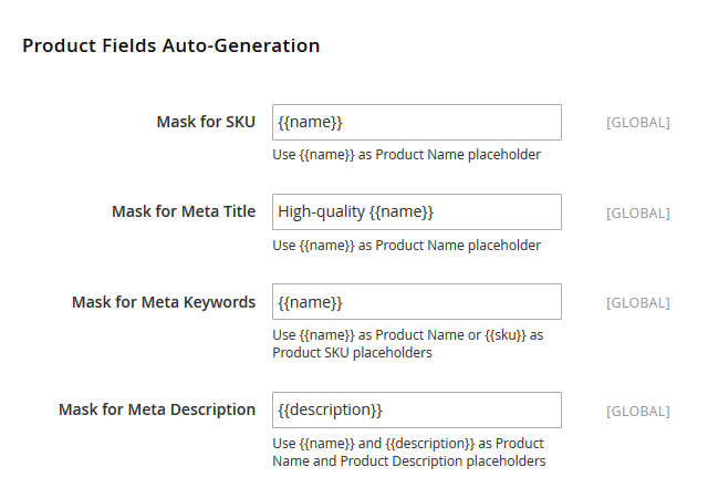 Product description meta tags