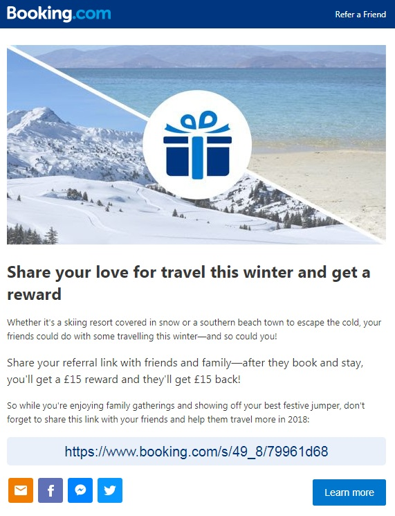 Booking.com referral email