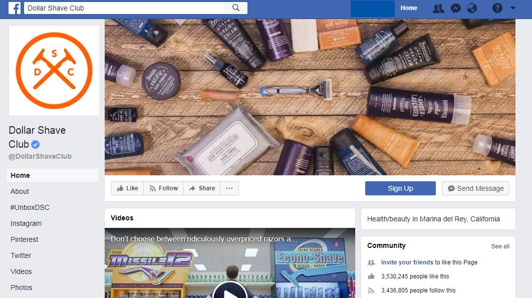 Dollar Shave Club Facebook