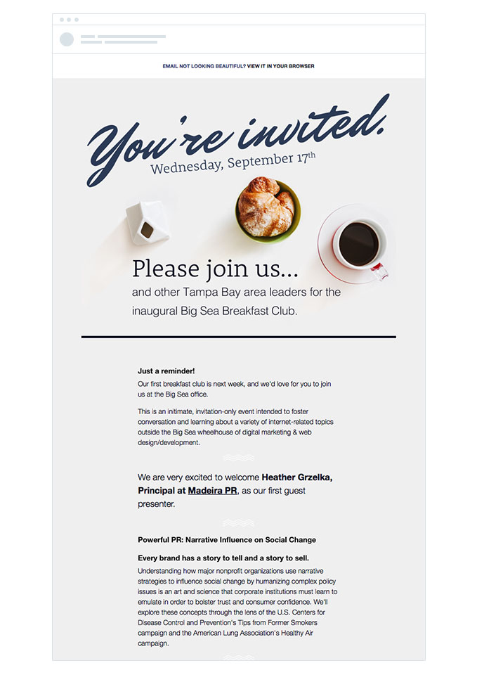 Big Breakfast Club invitation