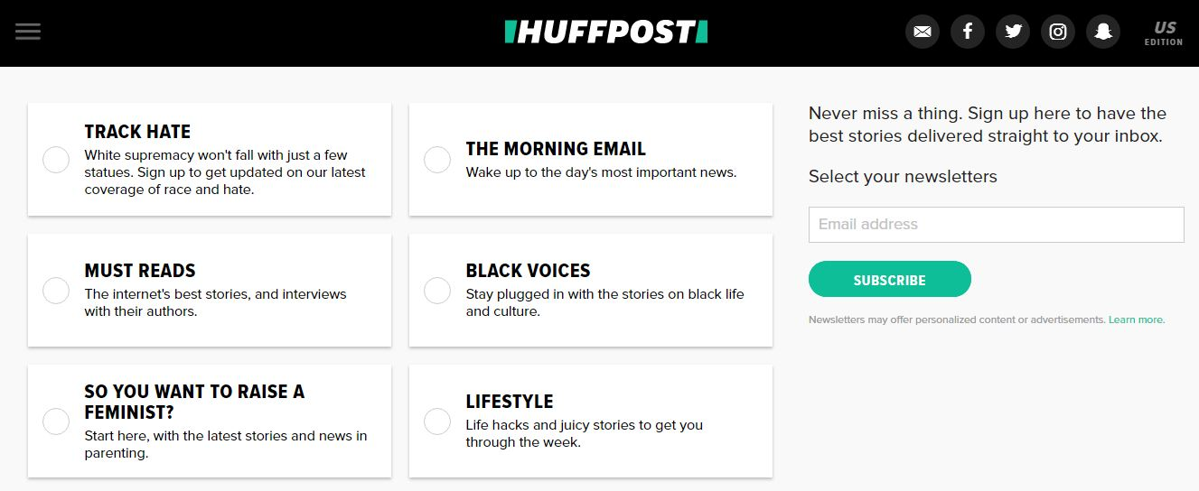 HuffPost Signup form